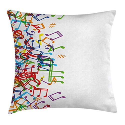 Ambesonne Colorful Throw Pillow Cushion Cover, Trippy Art Style Music Notes with Clef Rhythm Tempo Melody Harmony Print, Decorative Square Accent Pillow Case, 16