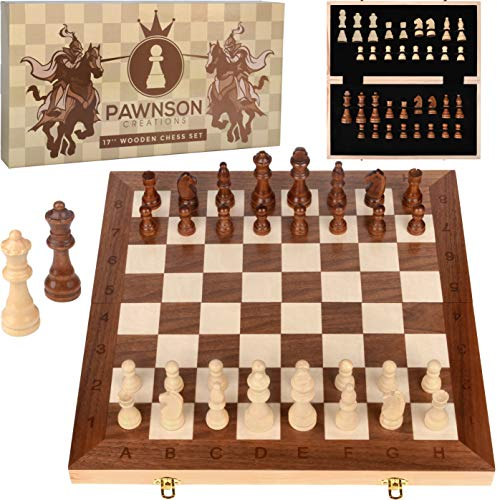 Wooden Chess Set for Kids and Adults – 17 in Staunton Chess Set - Large Folding Chess Board Game Sets - Storage for Pieces | Wood Pawns - Unique E-Book for Beginner - 2 Extra Queens