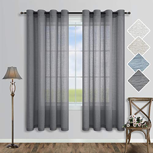Gray Curtains 63 Inch Length for Bedroom Decor 2 Panel Set Grommet Linen Light Filtering Semi Privacy Translucent Opaque Grey Sheer Curtain for Living Room Kitchen Farmhouse Bathroom Window 52x63 Long