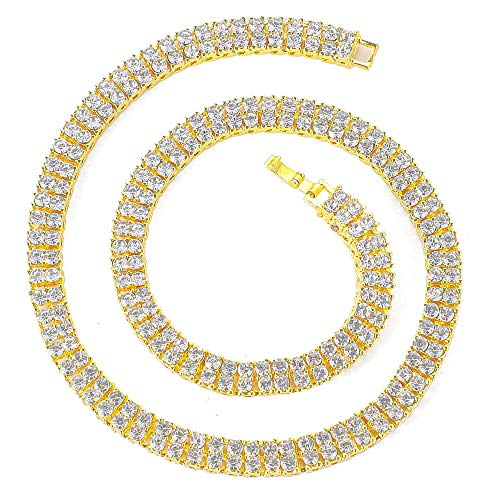 Mens Hip Hop Iced Out Silver Gold Plated Bling Cz Diamond Baguette Tennis Chain Necklaces 16