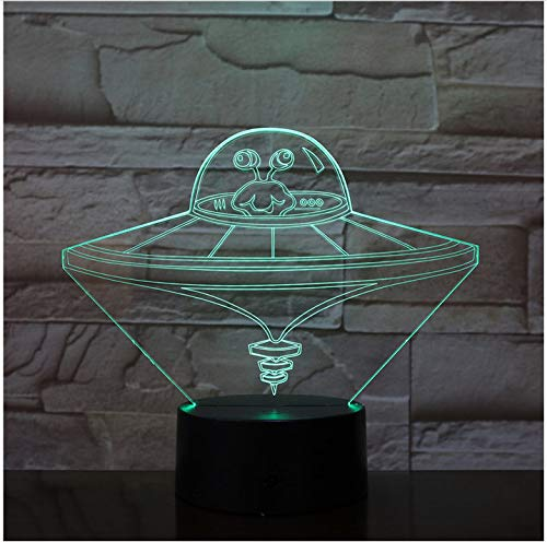 Spaceship Space Fighter 7 Colorful Gradients LED Acrylic Plate Desk Lamp Bedroom Decoration Night Light Without Controller