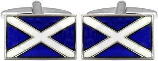 David Van Hagen Mens Scottish Flag Cufflinks - Blue/White