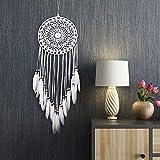 Uposao Atrapasueños bohemio, blanco, grande, hecho a mano, borla de algodón, macramé, arte de pared, decoración para el hogar, regalo