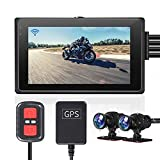 VSYSTO Fish Eye Camera Motorcycle Recording Dash cam Dual 2 Channels Lens Front & Rear 1080P Sports Action Camera Driving Recorder with GPS WiFi 150° Wide Angle 3' IPS Screen