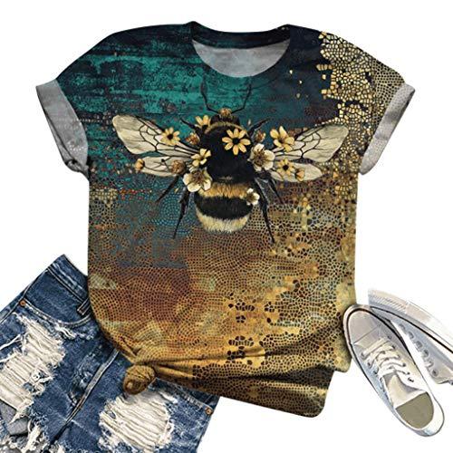 Kanpola Kurzarm T-Shirt Damen 3D Tier Gedruckt Sommer Top Retro Shirts Rundhals Bluse Regular-Fit