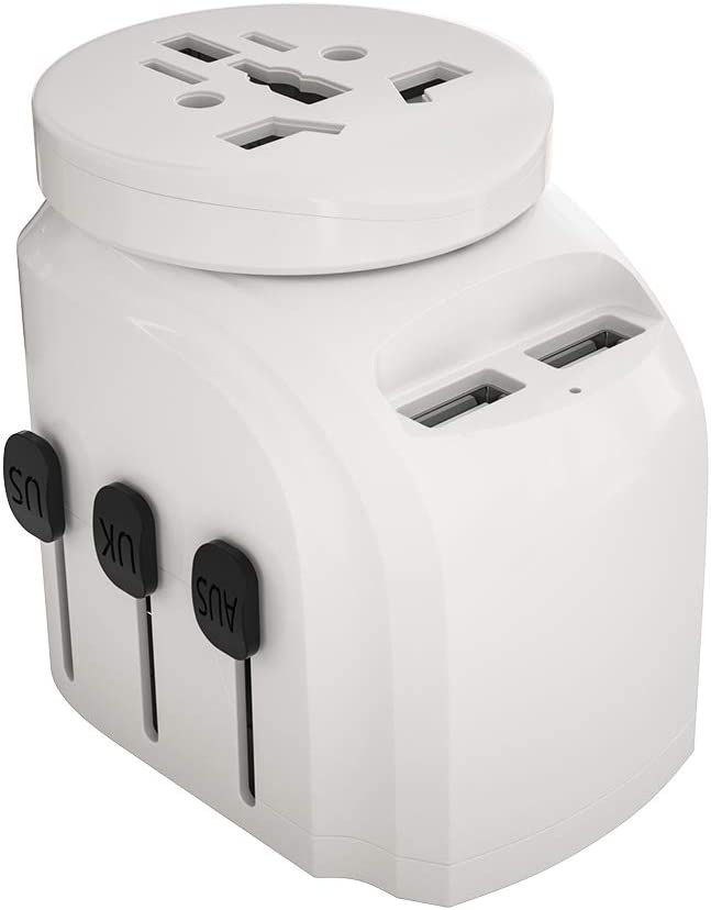 2500W Universal Travel Adapter for Hair Dryers, 2 USB Charging and UK/AU/US/EU Worldwide Plug Adapter for Europe, Italy, China, Australia, Japan 160 Countries