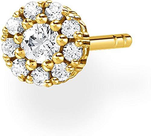 Thomas Sabo Women's Single Stud Earrings White Stones Gold 925 Sterling Silver