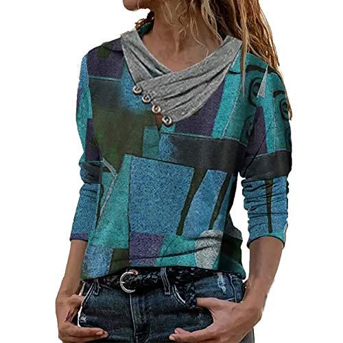 Yowablo Bluse Frauen Mode gedruckt Casual Tops Kreuz V-Ausschnitt Knöpfe Langarm (XL,1Blau)