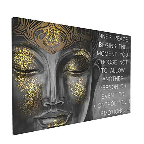 BOLDROLE Buddha Wall Art Meditating Buddha Paintings Inspirational Motivational Zen Quote Wall Decor for Living Room Yoga Room Modern Home Decor 12x18in