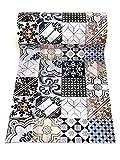 De'Carpet PASILLERA A Medida Textil Alfombra Lavable Antideslizante BALDOSA HIDRAULICA Lula (65cm Ancho) (1 Metro)
