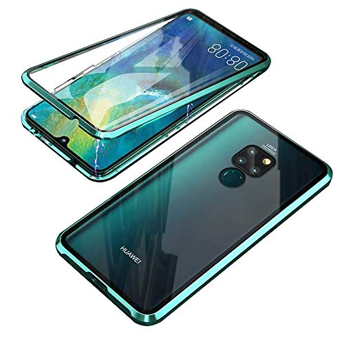 Kompatibel für Huawei Mate 20 X 5G Hülle, Magnetische Metallrahmen 360 Grad Handyhülle Vorne & Hinten Gehärtetes Glas Handyhülle Stark Magnetic Hülle Panzerglas Doppelseitige Hülle, Grün