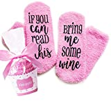 Xpeciall Gift Wine Socks 'If You Can Read This Bring Me Some Wine' Funny Novelty Luxury Socks - Wine Lovers Gifts for Women Under 25 Dollars (pink)