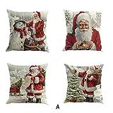 TWIFER 4 STÜCK Weihnachten Baumwolle Leinen Sofa Car Home Taille Kissenbezug Dekokissen Fall (A,...