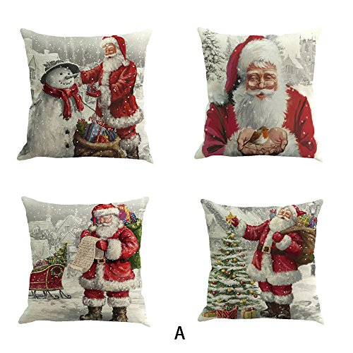 4PC/Set Christmas Cushion Cover 18 X 18 in, Mumustar Linen Throw Pillow Cases Protector Snowman Santa Claus Patterns Animals Square Pillowcase for Home Sofa Seat Decor (A)