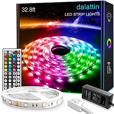 32.8ft Dalattin LED Strip Lights 5050 RGB 300 LEDs Ultra-Long Color Changing Lights Strip with 44 Keys IR Remote and 12V Power Supply LED Lights for Bedroom Home Kitchen Indoor Decoration(1×32.8ft)