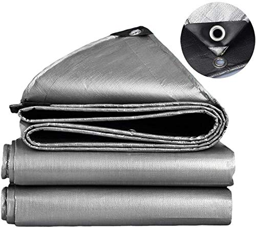 LQQ Heavy Duty Tarp PE Tarpaulin Rainproof Cloth Outdoor Garden Plant Shed Boat Car Truck Canopy Waterproof Sun Shade Cloth Pet House Cover,3 Colors (Color : Silver Grey, Size : 4 x 6 m)