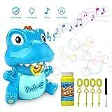 Pickwoo Macchina per Bolle Musica e Luce, spazzaneve a Dinosauro con Due Modelli manuali Automatici, Giocattolo da Bagno Bubble Maker, Regali per Bambini
