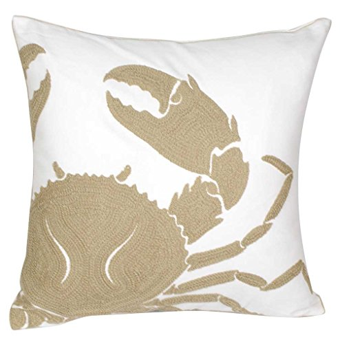 DECOPOW Wheat-Crab-New Kissenbezug, bestickt, quadratisch, 45,7 cm, dekorativer Krabben-Kissenbezug für nautischen Stil
