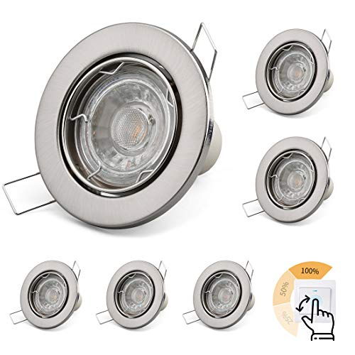 KYOTECH LED Einbauleuchte Flach 230V Schwenkbar 5W Dimmbar GU10 Leuchtmittel Warmweiß 3000K Deckeneinbaustrahler Einbauspot 400LM Rund Nickel gebürstet Deckeneinbauleuchte LED Spot 6er Set