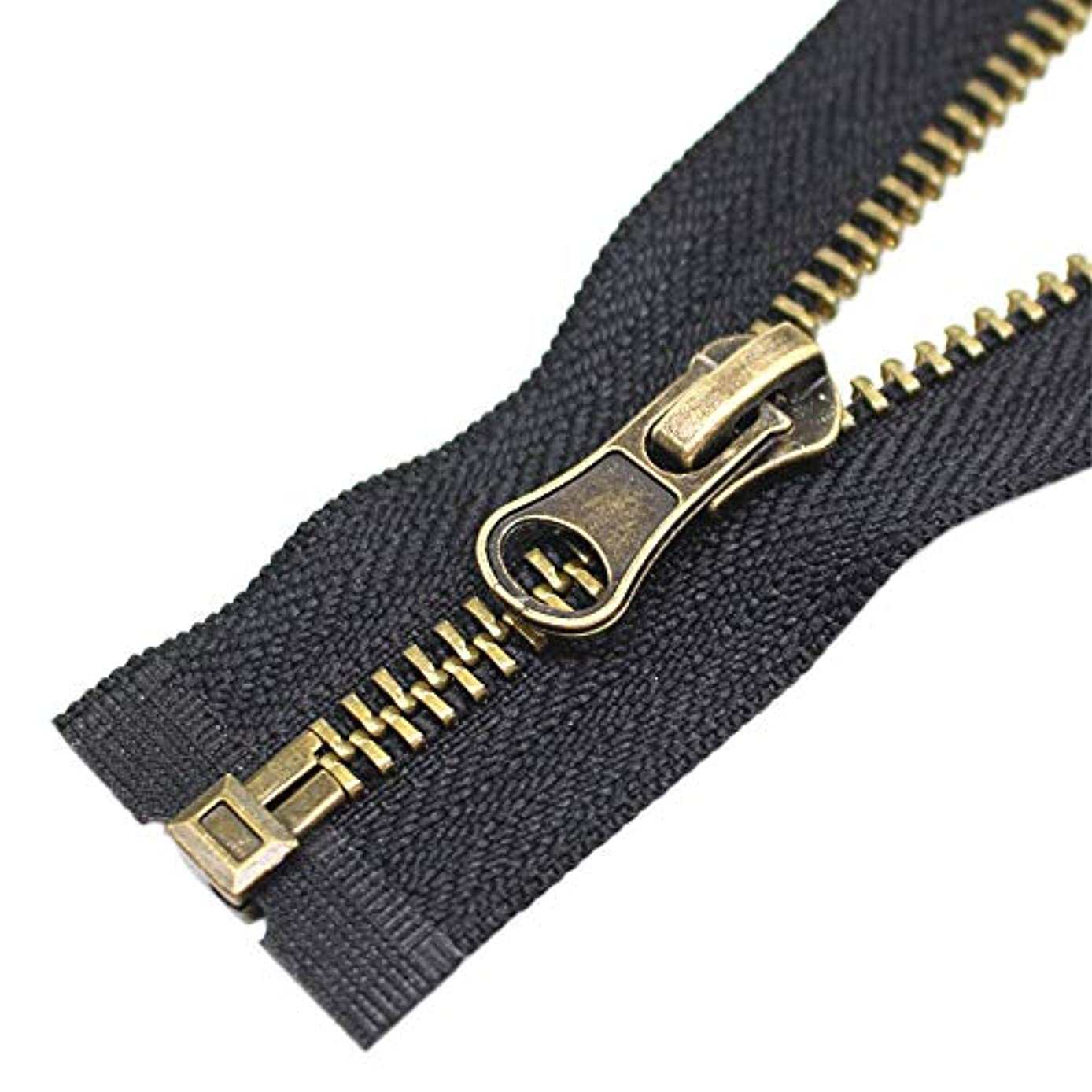 YaHoGa 2PCS #5 28 Inch Antique Brass Separating Jacket Zipper Y-Teeth Metal Zippers for Jackets Sewing Coats Crafts (28
