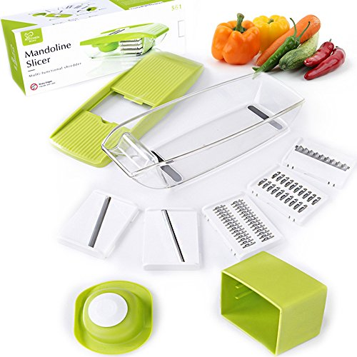 Mandoline Slicer - Adjustable Vegetable Cutter, Grater & Slicer, With 5 Built-in Ultra Sharp Interchangeable Stainless Steel Blades, Food Storage, And Safe Hand Protector