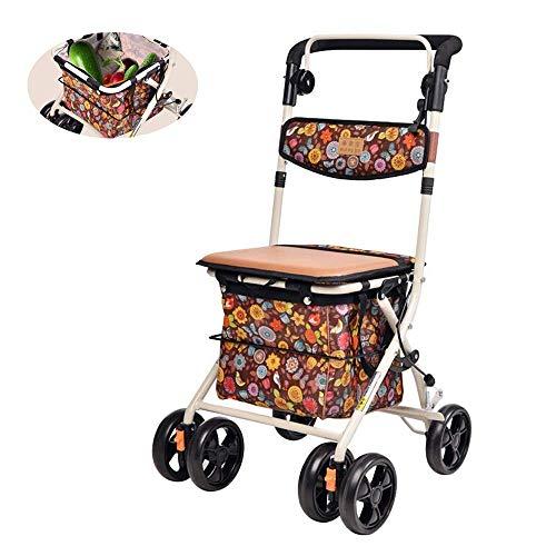 4 Ruedas Walking andador, carro de compras plegable Movilidad ayuda for caminar, Asiento regulable en altura con asiento y Baja lateral de la cesta de ancianos Walker, aleación de aluminio de la carre