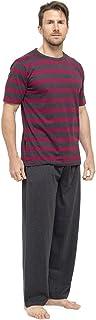 Mens Pyjamas Set Short Sleeve Top & Long Bottoms Pants Summer Pjs Pajamas HT332C