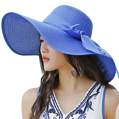 Lanzom Womens 5.5 Inches Big Bowknot Straw Hat Large Floppy Foldable Roll up Beach Cap Sun Hat UPF 50+ (Royal Blue)