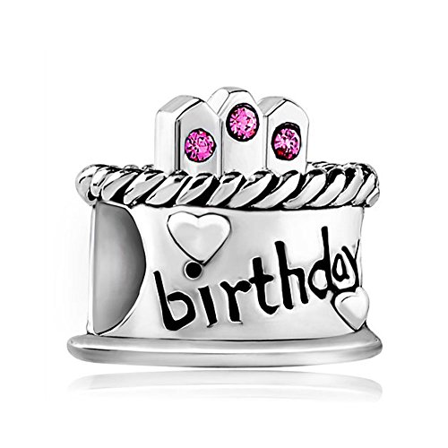 LuckyJewelry Sterling Silver Happy Birthday Cake Charms Birthstone Crystal Beads for Charm Bracelets (October-Pink)