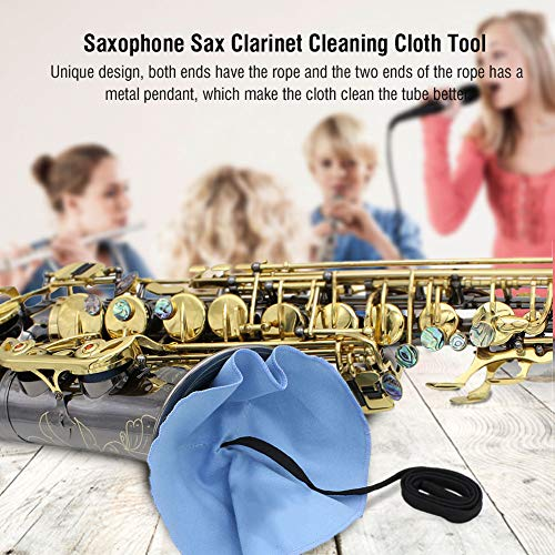 Paño de limpieza para clarinete Paño de limpieza para tubos Diseño único para saxofón para amantes del saxofón(blue)