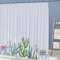 YZ&YL カスタムサイズ トロピカルサボテンテーマシャワーカーテンバスルームサボテンフラワーブロッサムバスカーテン耐久性のある防水ファブリックバスタブカーテン(180*180)