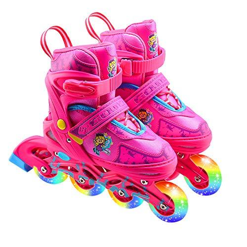 Skate kinderen 5-12 jaar oude mannen en vrouwen verstelbare enkele rij wiel ademende comfortabele rolschaatsen L [38 roze