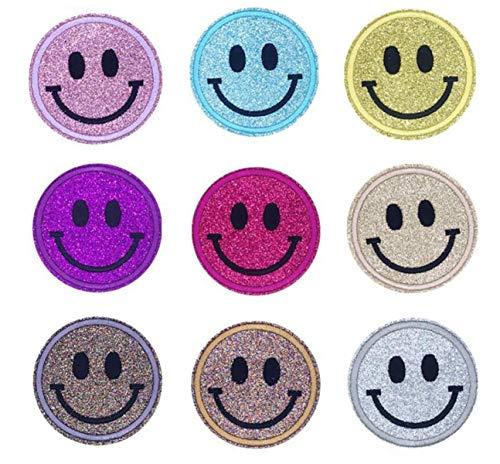 XPOOS 9 Stück Aufbügelflicken Kinder, Flicken Patches für DIY zum Aufbügeln Applikation Flicken Zum Aufbügeln Patch Sticker Jeans Kleidung Patches, Aufbügelflicken Kinder (Smiley Stil)