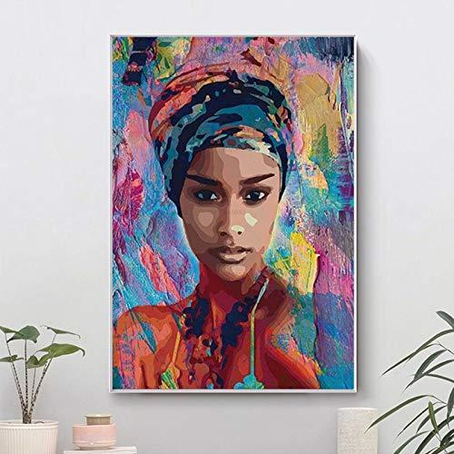 wZUN Retrato Femenino Abstracto Lienzo Pintura Cartel de niña Africana e Impresiones decoración de Sala de Estar Pintura Arte Pared 60X90 Sin Marco