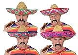 Sombrero mexicano de paja para hombre, incluye un bigote negro, accesorio ideal para disfraz o fiesta, color verde