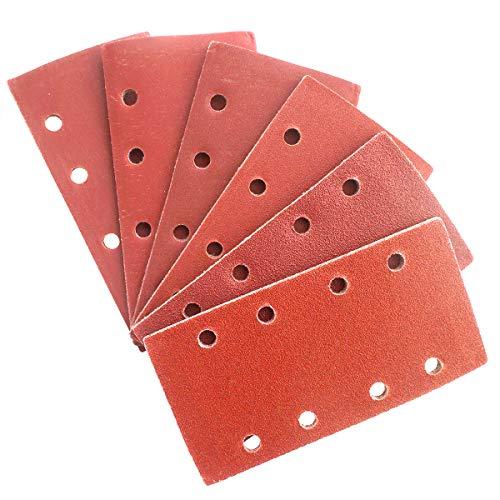 30 Stück Schleifpapier Schleifblätter Set Körnung 60 80 120 180 240 320, 8 Löcher Schleifblattset für Schwingschleifer Holz und Farbe, 95 x 185 mm
