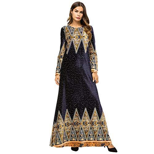 Meijunter Muslimische Kleider für Damen - Samt Langarm Abaya Ethnischer Druck Indische Robe Arabisch Islamisch Kleid Dubai Kaftan Blau XXXL