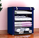 Pyxbe Fancy and Portable Foldable Collapsible Closet/Cabinet Collapsible Wardrobe Organizer, Multipurpose Storage Rack for Kids and Women, Clothes Cabinet, Bedroom Organiser_4 Layer Navy