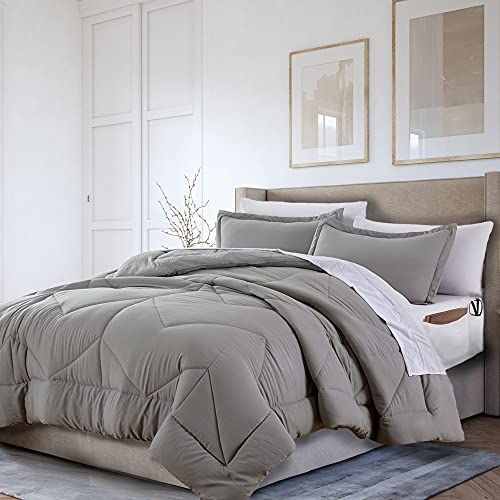 Cohzi Queen Bed Set with Comforter and Sheets - 8 Piece Bed in A Bag. Ultra Soft Queen Comforter Set with Sheets Featuring Side Pockets. Bonus Storage Bag. Grey and White Bedding Set for All Seasons