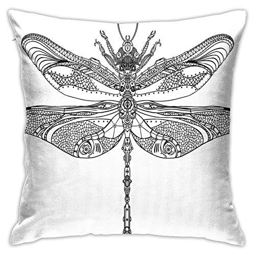 Kissenbezug Kissenbezug ,Artistic Baroque Patterned Ornamental Dragonfly Figure Old Fashion Bug Design ,18 x 18 Zoll