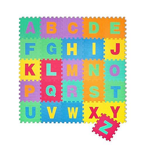 ML Alfombra Puzle para Niños 26 Piezas, Colchoneta Rompecabezas Infantil, Gomaespuma EVA Letras abecedario, Tamaño de Cada Pieza 30 x 30cm