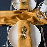 Linen & Cotton Hochwertige 4 x Stoffservietten/Servietten Stoff/Leinenservietten Hygge - 100% Leinen, Senfgelb/Gelb (45 x 45cm) für Feiern Home Küche Esstisch Dekoration Abendessen Cafe Restaurant - 5