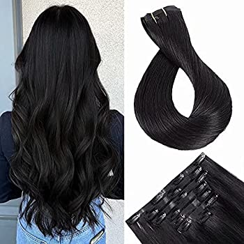 Maxfull Off Black Seamless Clip In Human Hair Extensions Skin Weft Remy Hair Extension Clip On Human Hair 7pcs 16inch 110g
