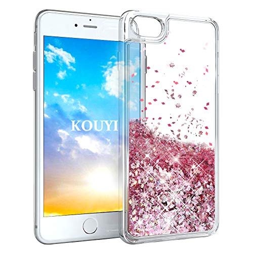 KOUYI Cover iPhone 8/7, 3D Glitter Chiaro Liquido Silicone TPU Bumper Telefoni Telefono Cellulari Protezione Cover,3D Bling Protettiva Case Custodia per Apple iPhone 8 / iPhone 7 (Oro Rosa)