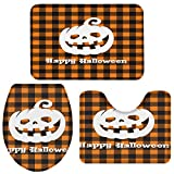 OneHoney 3-Piece Bath Rug and Mat Sets, Halloween Pumpkins and Bats Non-Slip Bathroom Decor Doormat Runner Rugs, U-Shaped Toilet Floor Mats, Toilet Seat Cover Orange Black Plaid