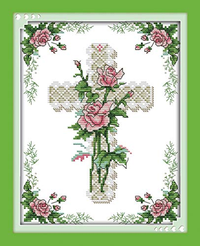 Printed Cross Stitch Kits 11CT 10X14 inch 100% Cotton Holiday Gift DIY Embroidery Starter Kits Easy Patterns Embroidery for Girls Crafts DMC Stamped Cross-Stitch Supplies Needlework The Cross Rose