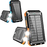 Product Image Solar Charger 20000mAh, Portable Solar Power Bank Outdoor Waterproof External Backup Battery with Dual USB Outputs, 2 Led Flashlights and Compass for All Cell Phone
