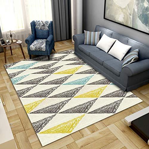 Furry Golden Triangle Alfombra Geométrico Puzzle Café Blanco Imitación Cashmere Alfombra Sala De Estar Dormitorio Corredor Lavable(Size:80x200cm)
