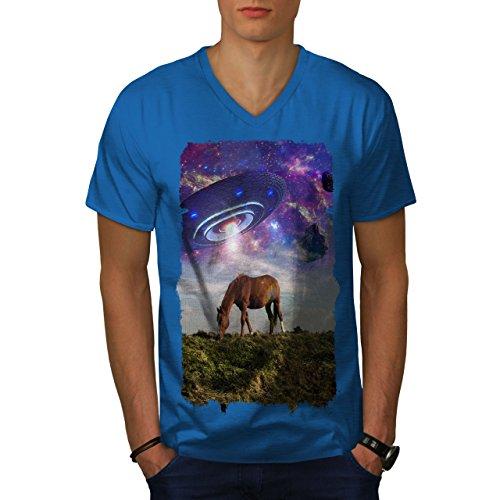 wellcoda Pferd UFO Raum Tier MännerV-Ausschnitt T-Shirt Pferd Grafikdesign-T-Stück