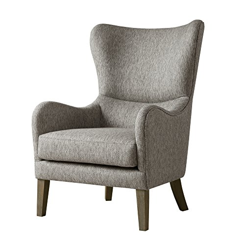 Madison Park Arianna Accent Hardwood, Faux Linen Modern Contemporary Style Living Room Sofa Furniture Swoop Wing Arm Bedroom Chairs Seats, Deep, Grey